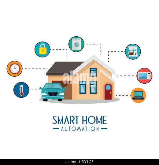 Smart Home Automation Tech Vector Illustration Design   Stock Image