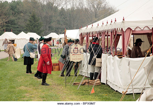 Reenactors sell their wares and visit each otheru0027s tents at a Sutleru0027s Convention at Fort Frederick & Sutler Stock Photos u0026 Sutler Stock Images - Alamy