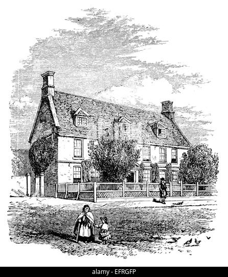 English Cottage Photographed From A Book Titled Pictures Drawn With Pen And Pencil