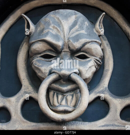 Demon head shape doorknocker - Stock Image  sc 1 st  Alamy & Demon Head Door Knocker Stock Photos \u0026 Demon Head Door Knocker ...