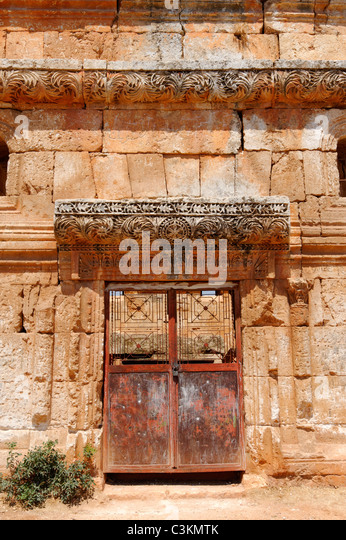 The Carved Acanthus Leaf Decorative Door Of The Largest Pyramid Tomb At The  Dead Byzantine City