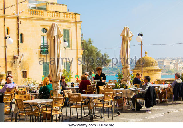 Valletta cafe stock photos images