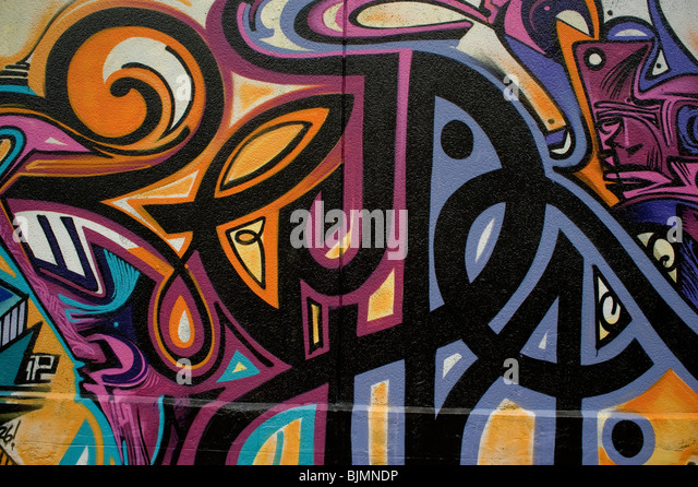 Paris, France, Graffiti Mural Paintings On Wall, Outside Street, Abstract  Design