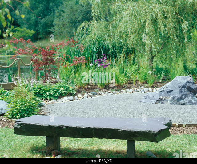 Japanese Garden Stone Bench Stock Photos Japanese Garden Stone Bench Stock Images Alamy