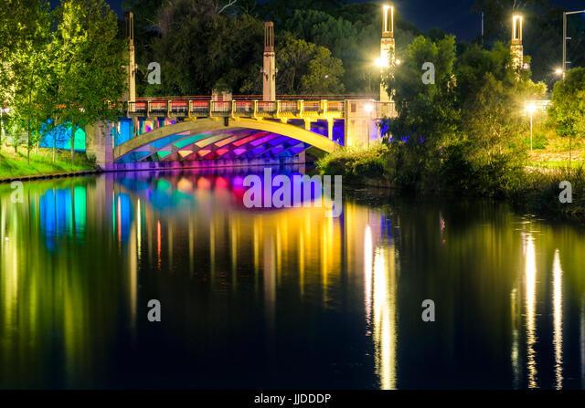 King William bridge illumination in Adelaide city at night - Stock Image