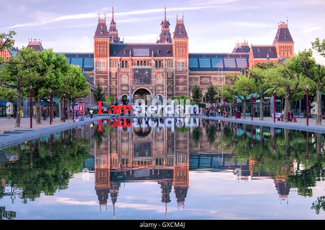 Amsterdam Stock Photos Images Alamy Rijks Museum Building Early Evening