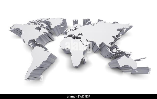 World map flat cartography stock photos world map flat blank world map with raised edges isolated on white stock image gumiabroncs Images