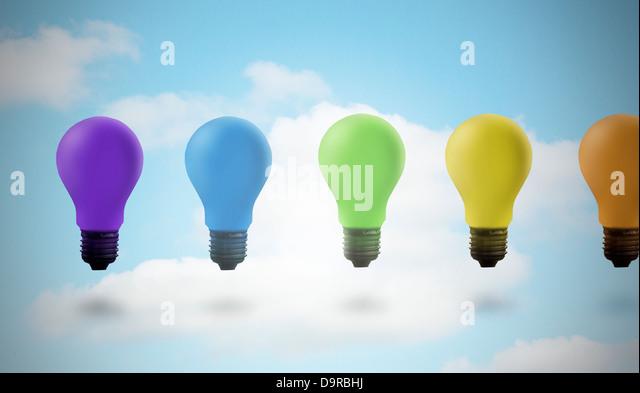 five colored light bulbs stock image - Colored Light Bulbs