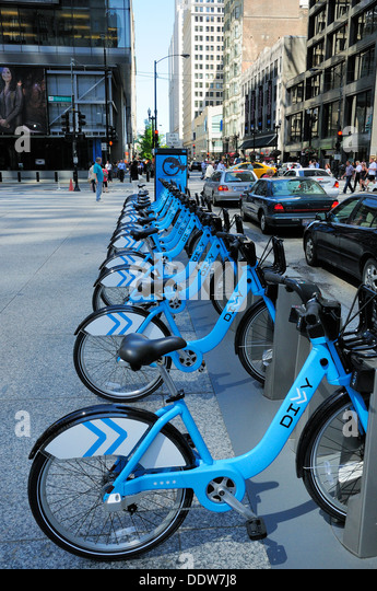 Blue Rental Bikes In Chicago Divvy Bicycle rental station