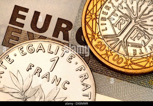 simple french euro coin and old franc on uac note stock image with palette europe le bon coin. Black Bedroom Furniture Sets. Home Design Ideas