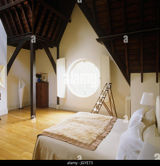 High Wooden Ceilings In Farm Building Conversion   Stock Image