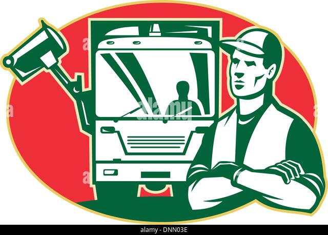 Illustration Of A Garbage Man Collector With Arms Crossed And Rubbish Side Loader Truck In Background