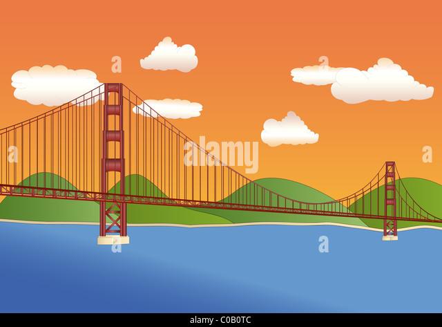 Golden Gate Bridge Illustration Stock s & Golden Gate Bridge