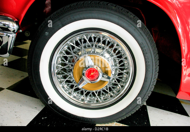 ford thunderbird wire spokes wheel with white wall rubber at the sarasota pride and joy