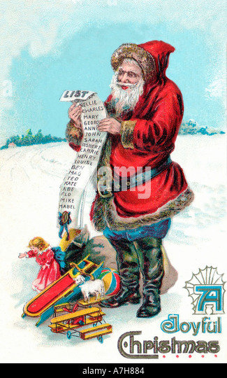 Vintage Santa Christmas Card Illustration Stock Photos & Vintage ...