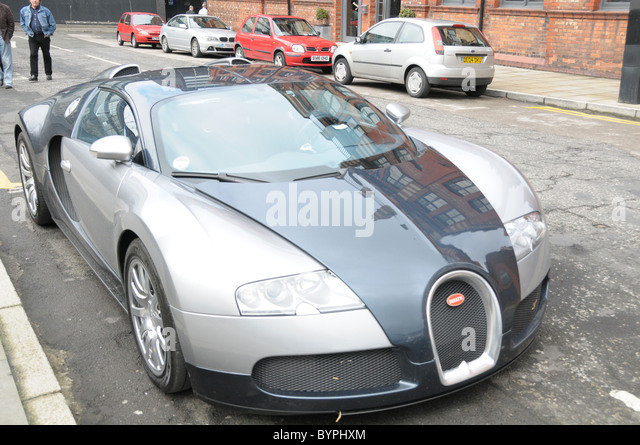 An Expensive Bugatti Veyron Parked Up On A Street In Manchester. The Car Is  Too