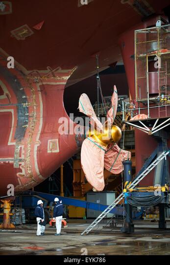 Goseong-gun South Korea  city pictures gallery : Detail of ship at shipyard, GoSeong gun, South Korea Stock Image