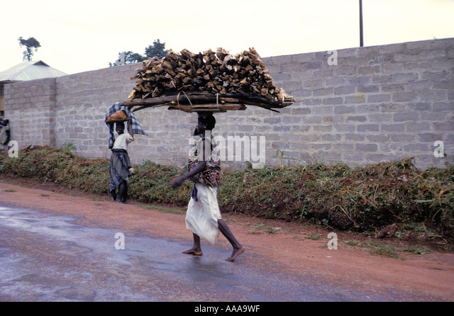 Woman Carrying Heavy Load Firewood Stockfotos & Woman