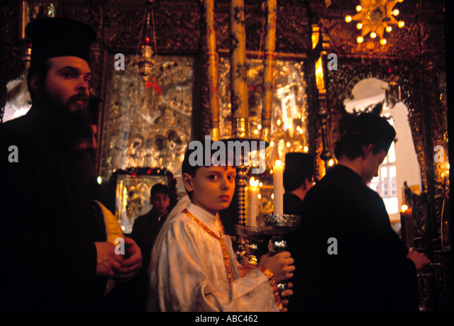 bethlehem greek orthodox christmas ceremony stockfotos. Black Bedroom Furniture Sets. Home Design Ideas