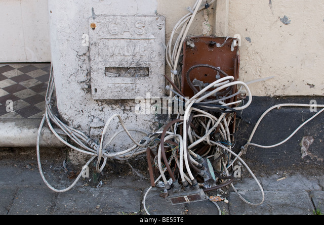 dangerous electrical wiring stockfotos dangerous. Black Bedroom Furniture Sets. Home Design Ideas