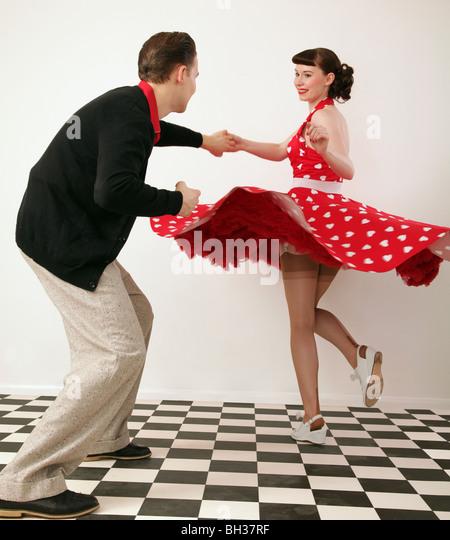 rock n roll dancing 1950s stockfotos rock n roll dancing. Black Bedroom Furniture Sets. Home Design Ideas