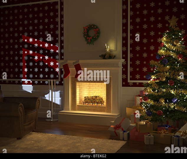 cozy decorated christmas fireplace night stockfotos cozy. Black Bedroom Furniture Sets. Home Design Ideas