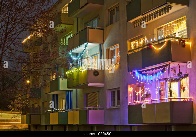 balcony decorated christmas stockfotos balcony decorated. Black Bedroom Furniture Sets. Home Design Ideas
