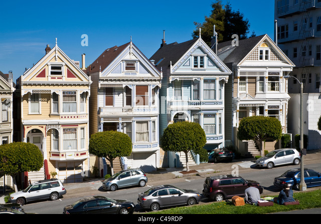 row houses san francisco stockfotos row houses san francisco bilder alamy. Black Bedroom Furniture Sets. Home Design Ideas