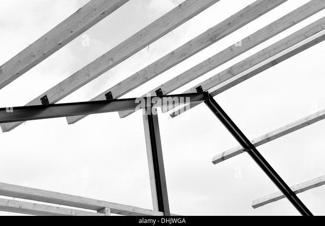 wood steel beams stockfotos wood steel beams bilder alamy. Black Bedroom Furniture Sets. Home Design Ideas