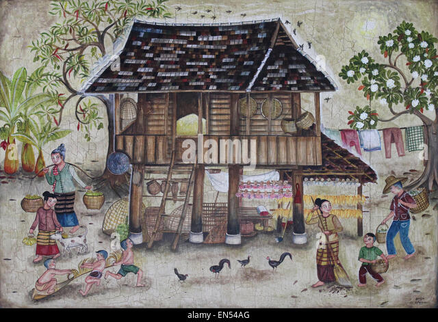 Traditional painted house stockfotos traditional painted for Traditionelles thai haus