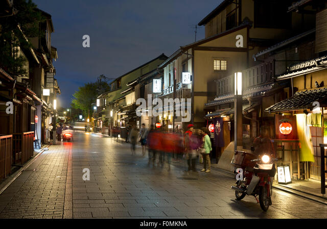 japanische hauser gion kyoto night stockfotos bilder alamy minecraft