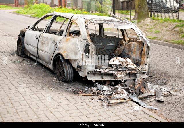 Accident vehicle scrap car stockfotos