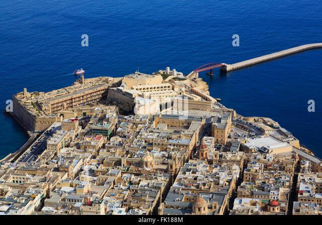 Malta Valetta Aerial Stockfotos Malta Valetta Aerial