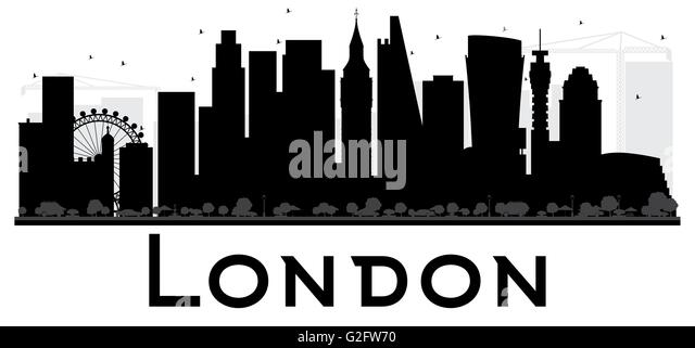 Excellent London City Skyline Schwarzwei Silhouette Einfache Flache Konzept  Fr With Skyline New York Schwarz Wei Umriss.