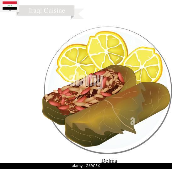 Irakische Küche, Dolma Oder Traditionelle Gekochten Reis Und Fleisch In  Weinblätter Gehüllt. Eines Stockbild