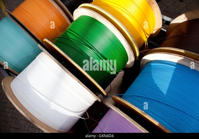telephone cable spool stockfotos telephone cable spool. Black Bedroom Furniture Sets. Home Design Ideas