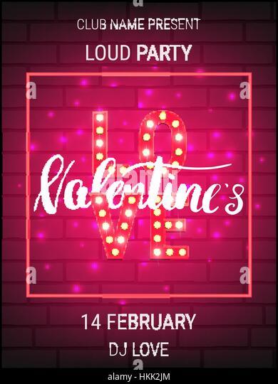 Valentinstag Party Plakat Vorlage Mit Glänzenden Schrift Und Kalligrafie.  Stockbild