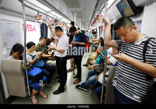 china beijing subway passengers stockfotos china beijing. Black Bedroom Furniture Sets. Home Design Ideas