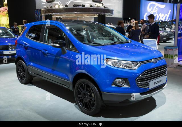 Januar 2017 Blaue Ford EcoSport SUV Kleinwagen Auf Dem Brusseler Autosalon