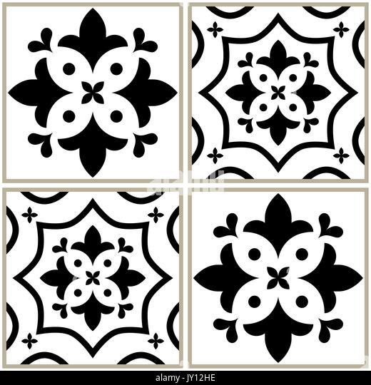 Fliesen Nahtlose Schwarzweiß Sammlung, Portugiesisch Oder Spanisch Vektor  Fliese Design Stockbild