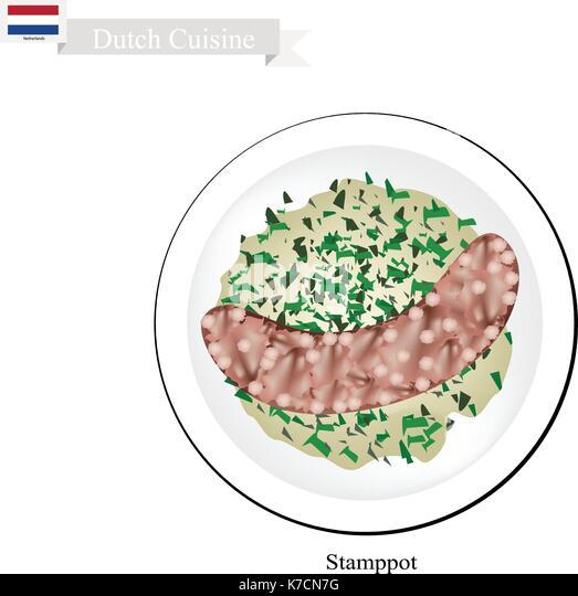 Niederländische Küche, Illustration Der Traditionellen Stamppot Oder  Kartoffelpüree Und Grünkohl Stockbild