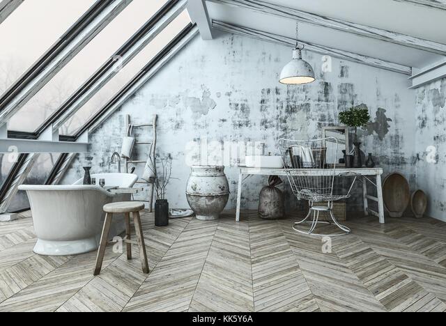 Im Modernen Skandinavischen Stil Bad Interieur Mit Einer Eklektischen  Sammlung Collectibles Und Fischgräten Stockbild