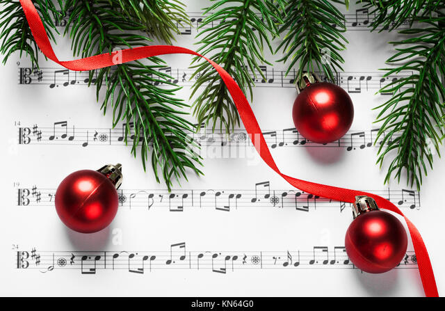 christmas decoration background music notes stockfotos. Black Bedroom Furniture Sets. Home Design Ideas