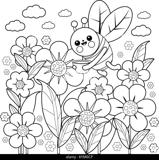 Drawing of a bee stockfotos drawing of a bee bilder alamy for Kleine fliegen blumen